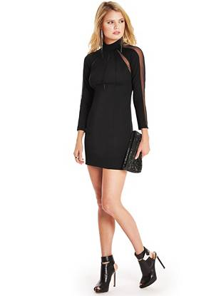 Bring sexy edge to your night-out looks with this ultra-flattering minidress. Transparent mesh details reveal just enough skin while the mock collar channels a rebel-chic vibe that's completely of the moment.