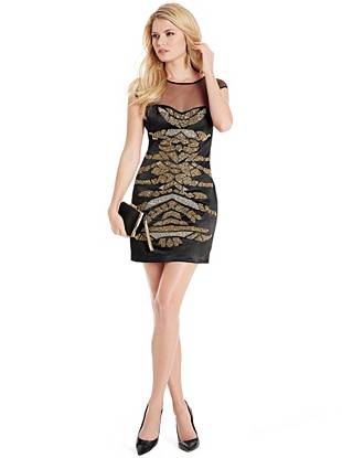 Make a dazzling entrance after dark in this striking beaded number. Sexy mesh details and a curve-hugging fit make it one that works for every event on your social calendar.