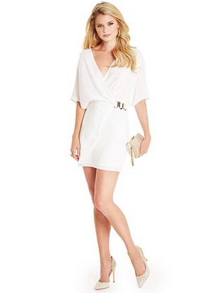 Simply sexy, this tunic dress covers all your bases. The breezy overlapping construction is offset by glamorous gilded detail, instantly bringing that added allure every look needs.