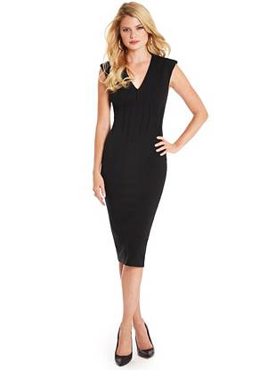 Quintessential and completely chic, this dress epitomizes sophistication. Subtle pleats and a midi-length hem create a polished look that works from morning lattes to late-night cocktails and beyond.