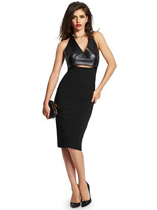 Modern detail, a strategically placed cutout and an air of femme fatale edge—keep your nighttime looks effortlessly chic in this absolutely stunning dress.