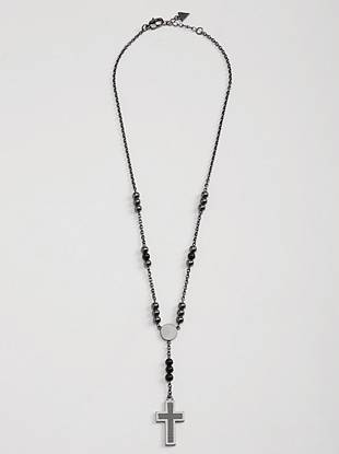 A rosary necklace is a timeless design that you can wear with just about anything. Beads and cross detail silver-tone chain.