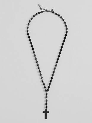 """This rosary necklace is the perfect addition to any outfit. Wooden beads and cross attached by aged silver-tone chain.   Lobster clasp  23"""" long  2"""" extender"""