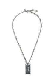 Box Chain Necklace with Cross Tag