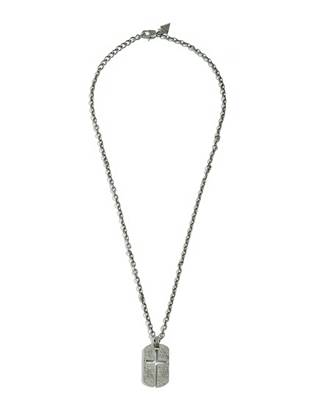"""A get-noticed piece with go-everywhere appeal: this pendant necklace is an essential. Wear it with tees button-downs and more. •Silver-tone chain necklace with oxidized finish. Textured pendant with cutout cross detail. •12"""" drop •Lobster clasp"""