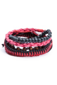 Red And Black 4-Piece Bracelet Set