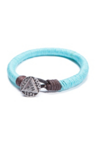 The Festival Collection - Blue and Brown Wrapped-Cord Bracelet