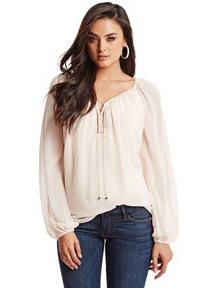 Spring is just around the corner, and this breezy chiffon blouse is just what you need for the new season. Complete with subtle cutouts and a lace-up chain, it keeps you polished for work and playful on the weekends.