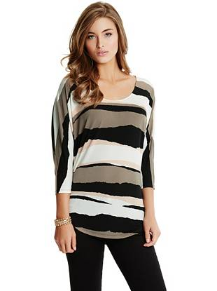 Super-stretch knit and a chic striped design make this oversized top the perfect weekend go-to.
