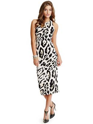 Effortlessly go from noon to night in this luxurious leopard-print maxi dress. The open back features revealing cutouts and knot details for a tempting, on-trend finish that gets you noticed.