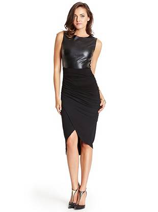 Go from morning coffee to cocktail hour in this sophisticated midi dress. The faux-leather bodice adds an element of luxury while the asymmetrical hem gives it a modern, trend-focused finish.