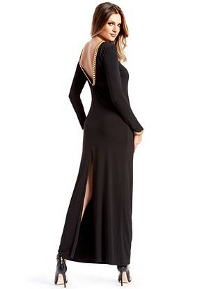 Inspire dress envy when you walk in wearing this ultra-chic evening gown. The sleek, minimal silhouette is detailed with a glamorous gold-tone chain and seductive open back for maximum allure.
