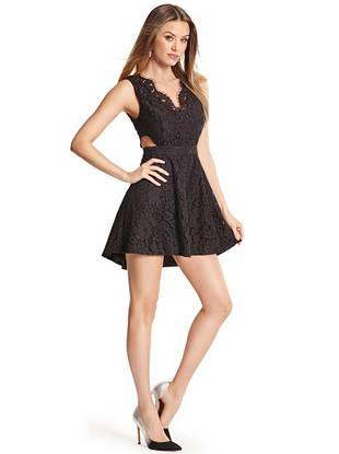 Perfect for party season, wedding season and beyond, this lace dress is one you'll wear over and over again. Feminine lace plays off the flirty silhouette and revealing cutouts for a look that's tasteful yet tempting.