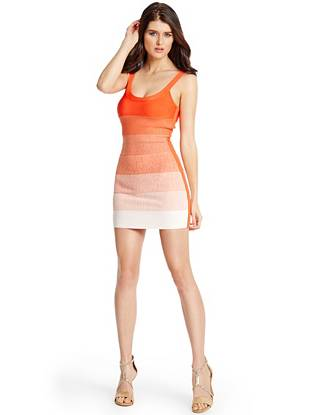 The ombre trend gets a glamorous update in this exquisitely sexy minidress. Featuring a body-hugging bandage construction and full-length back zipper closure, it's a front-runner for the holiday season and beyond.
