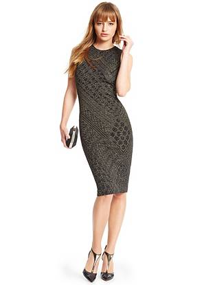 Tempt them with exquisite texture and eye-catching shine in this luxurious pencil dress. The super-stretch construction hugs your curves in all the right ways while the impeccably placed cutout reveals just enough skin.