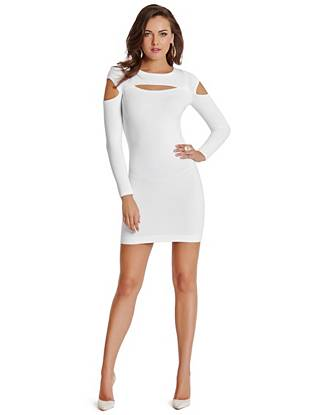 A sexy take on the essential sweater dress, this style is one you'll wear through the winter season and beyond. Featuring an eye-catching ribbed texture and finished with revealing cutouts, it makes a flawless transition from day to night.