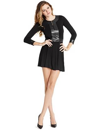 Sophisticated meets sexy in this versatile LBD. Faux leather details lend an element of luxury to the casual jersey design. Plus, hook-and-eye closures provide a plunge-neckline option, allowing an effortless transition from desk to dinner.