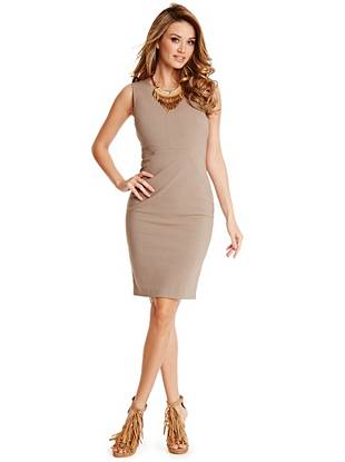 Lead the conversation at your morning meeting in this sophisticated and completely-chic dress. The stretch woven construction flatters in all the right ways while the subtle topstitch detail adds that essential element of texture. Unzip the back slit for post-work cocktails.