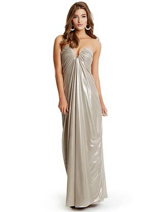 Make a dramatic entrance at your next event in this stunning evening gown. Featuring a sultry plunge neckline, ethereal draped details and an eye-catching iridescent finish, it's exactly what you need to own the holiday soiree circuit.