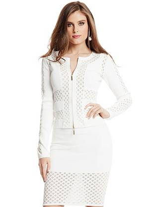 Master spring's all-white trend with this mixed-media sweater jacket. The pieced design features modern mesh and a knit grid overlay, creating a fashion-focused look that's made to be seen. Team it with the matching skirt for true runway appeal.