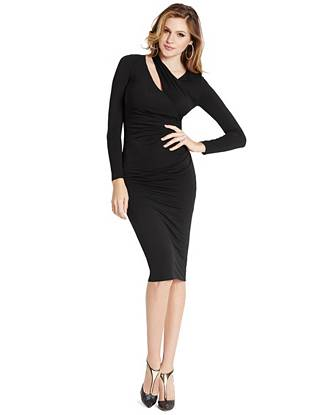 Chic draped details and a revealing shoulder cutout take this jersey dress to a new level of sexy. Wear it casually during the day then dress it up after dark for a look that's modern yet effortless.