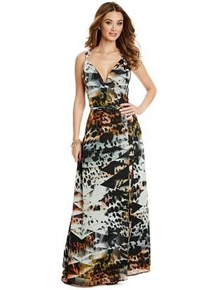 Maxi Winter Dresses - Desert Diamond-Print Maxi Dress