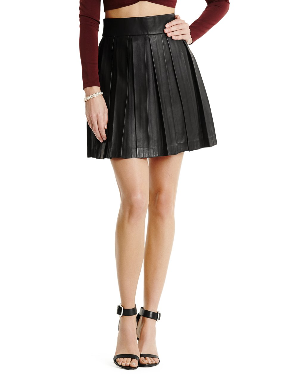 Guess by Marciano Aurey Pleated Leather Skirt