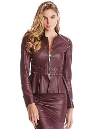 Leather Jackets - Tati Peplum Leather Jacket