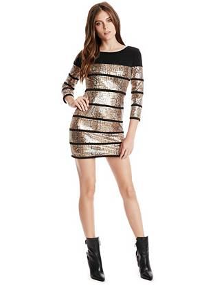 Striped Junior Dresses - Adelia Sequin Dress