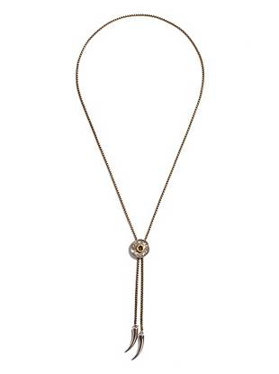 Silver-tone horn charms and a bolo-tie design give this necklace just the right amount of modern cowboy edge.