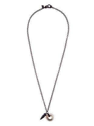 A matte black bullet and silver-tone spur charm bring Western inspiration to this modern chain necklace.