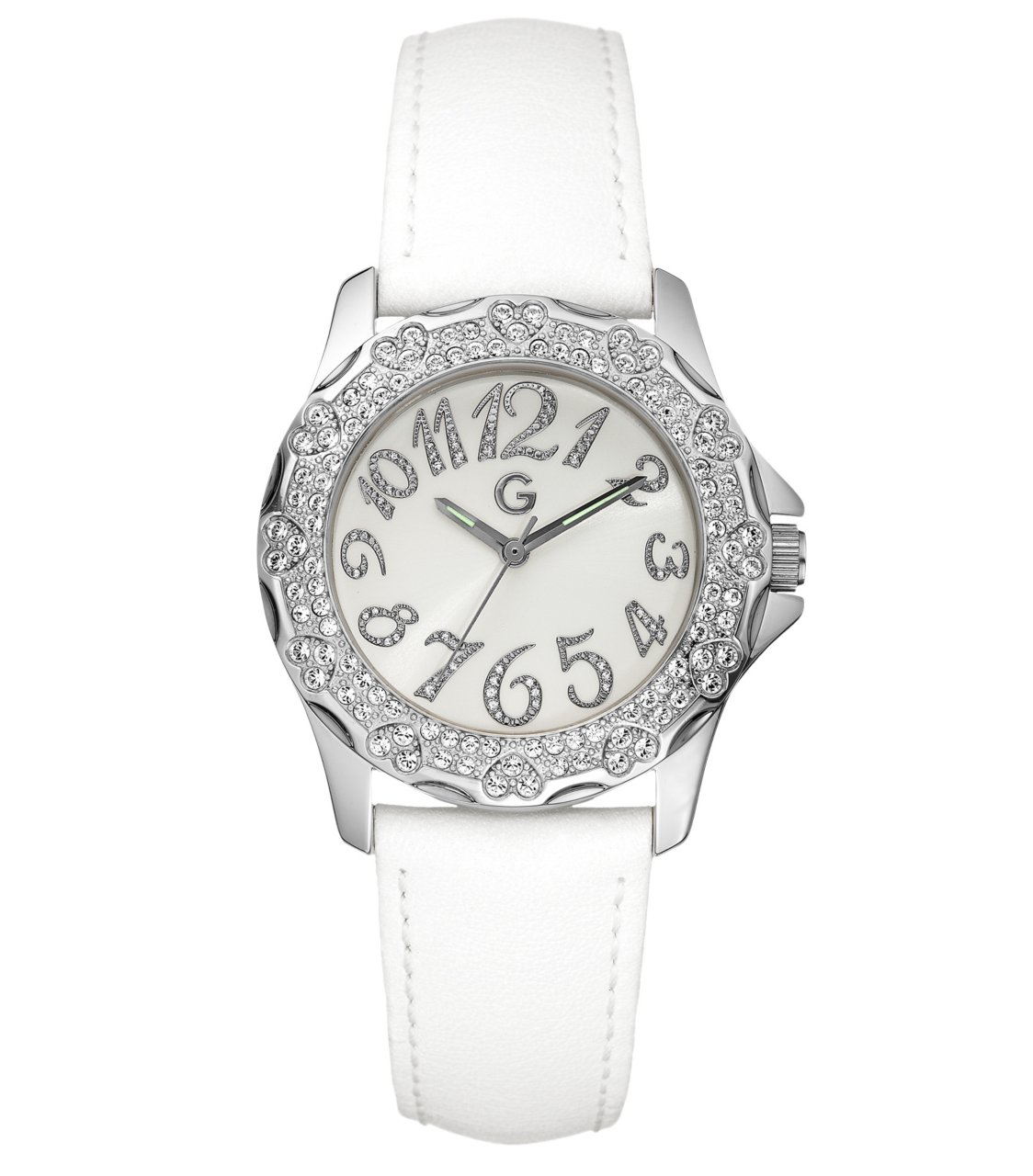 G by GUESS White Stone Heart Watch