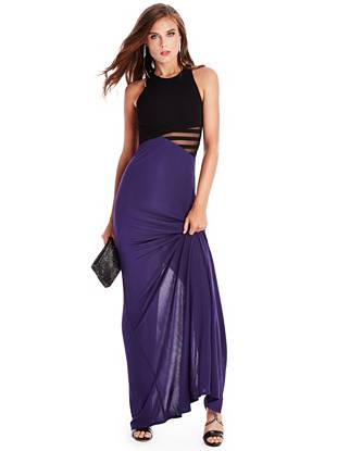Make an entrance at your next event in this seductively modern gown. Featuring a color-blocked design, sheer mesh details and faux-leather straps, it's an irresistibly chic statement piece everyone will envy.