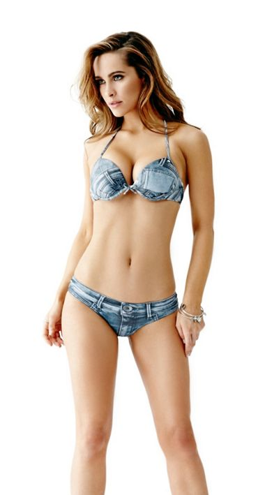 denim print super push up bikini cheeky bikini bottoms. Black Bedroom Furniture Sets. Home Design Ideas