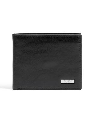 """A classic finish and organized interior make this one wallet you'll keep for years. Its clean design and durable leather construction give it timeless appeal.  •Black leather wallet •Logo plaque at front •Billfold design •4 credit card slots •Removable passcase with 2 ID windows •2 bill pockets •4 ¼""""W x 3 ½""""H"""