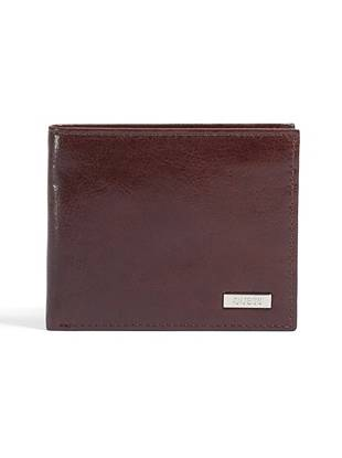 """With a versatile passcase design and ultra-stylish two-tone construction, this passcase-style wallet is the perfect choice for the guy on the go. •Brown leather wallet •Logo plaque at front •Billfold design •4 credit card slots •1 zippered pocket •2 bill pockets •4 ¼""""W x 3 ½""""H"""