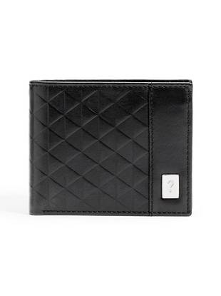 """A simple-but-sophisticated embossed design gives this classic wallet a fresh, modern look. Carry it from day to night for an in-the-know style accent. •Black leather wallet with triangle-embossed exterior •Logo plaque at front •Billfold design •4 credit card slots •Removable passcase with 2 ID windows •2 bill pockets •4 ¼""""W x 3 ½""""H"""