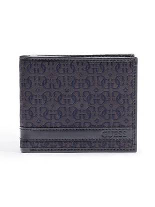 """It's the epitome of classic style: this ultra-organized wallet is a carry-everywhere essential. •Logo jacquard wallet with genuine leather trim and interior •Embossed logo at front •Billfold design •4 credit card slots •Removable passcase with 2 ID windows •4 ¼""""W x 3 ½""""H"""