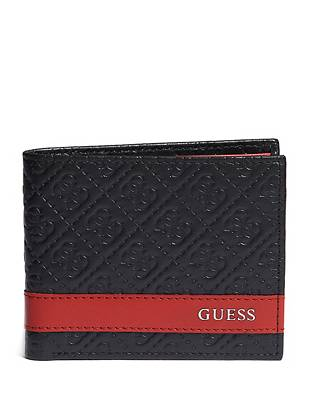 Rock iconic GUESS style with this logo-embossed leather billfold. Red contrast leather makes a subtle yet daring statement that's perfect for any style-conscious guy.