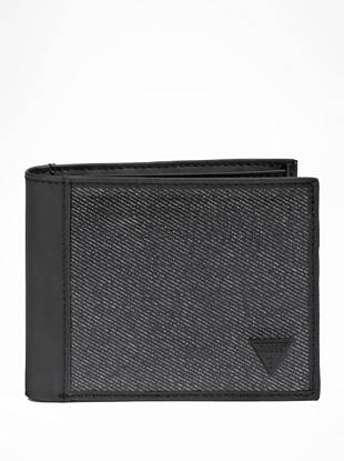"""Coated denim accents add unique, on-trend appeal to this black faux-leather wallet. Its two bill pockets and eight credit card slots allow you to stay super-organized without sacrificing style.       • Black faux-leather wallet with coated denim accents • Embossed logo plate on front • Billfold design • 8 credit card slots • 2 bill pockets • 4 ½""""W x 3 ½""""H"""
