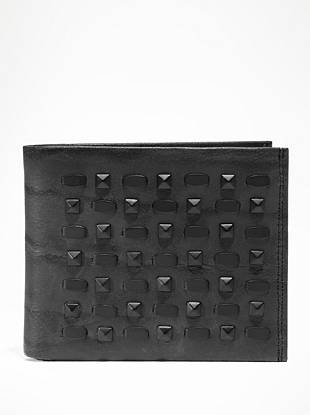 Channel the most-wanted rocker look with this matte-black studded wallet. Soft genuine leather and an organized interior make this style one you'll carry for years to come.