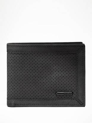 Perforated details are being spotted on the season's most popular accessories, and this genuine leather wallet is no exception. An organized interior and classic billfold design makes it the ideal essential for every guy.