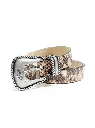 Steer your look in a whole new direction with this wildly sexy python-print belt. Whether your cinching the waist or wearing it at the hips, it makes a daring addition to your everyday style.