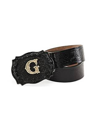Embossed faux leather and a statement-making logo buckle make this belt the perfect finish to your sexy GUESS jeans.