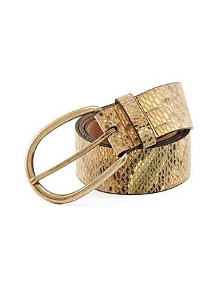 Python print is being spotted all over the accessories scene, making this multicolor embossed belt the season's ultimate must have. Antique-effect hardware gives it an authentic vintage look that's completely of the moment.