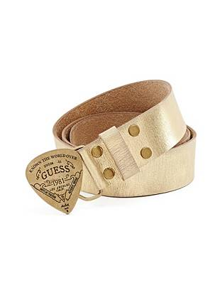 Rocker glam is the look of the moment, making this metallic belt our latest obsession. Antique-effect hardware and a logo-embossed guitar pick buckle deliver one-of-a-kind edge inspired by the ever-present music scene.