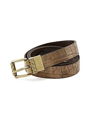Reversible Crocodile-Embossed Belt