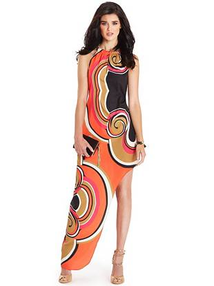 Psychedelic and chic, this swirl-print dress takes '70s glamour to a whole new level. Featuring gold-tone details, sexy cutouts and an asymmetrical hem, it's puts a modern spin on fall's retro-inspired trend.