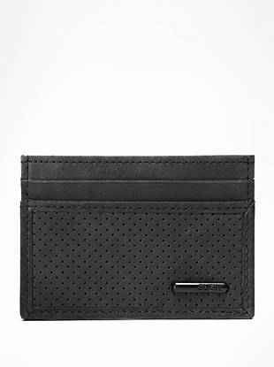 Perforated details are being spotted on the season's most popular accessories, and this genuine leather card case is no exception. The sleek design and slim profile makes it perfect for slipping in the pocket of your favorite GUESS jeans.
