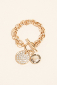 Chain Wrapped Pavé Disc Bracelet